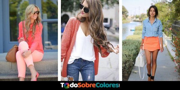 como combinar el color coral