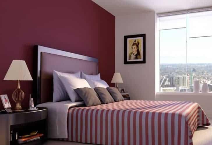dormitorio de matrimonio vinotinto rojo